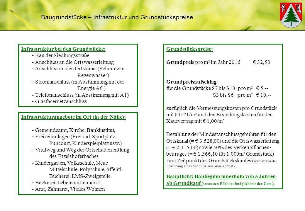 Baugrundstücke – Infrastruktur und Grundstückspreise Infrastruktur bei den Grundstücke: - Bau der Siedlungsstraße - Anschluss an die Ortswasserleitung - Anschluss an den Ortskanal (Schmutz- u.