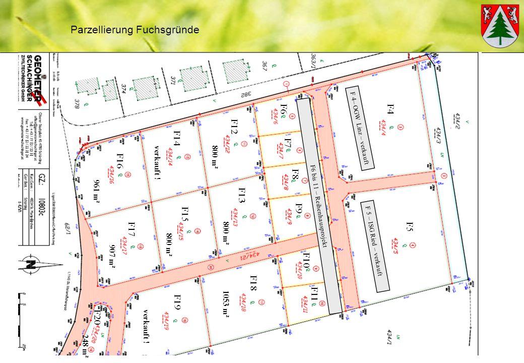Parzellierung Fuchsgründe F5 F6 F7 F4 F8 F9 F10 F11 F12 F13 F14 F15 F16 F18 F17 verkauft .