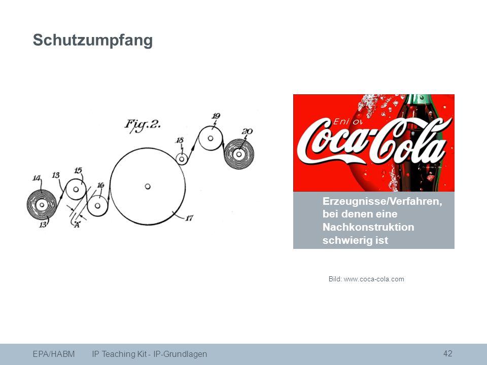 Schutzumfang 42 Erzeugnisse/Verfahren, bei denen eine Nachkonstruktion schwierig ist Bild: www.coca-cola.com EPA/HABM IP Teaching Kit - IP-Grundlagen Schutzumpfang