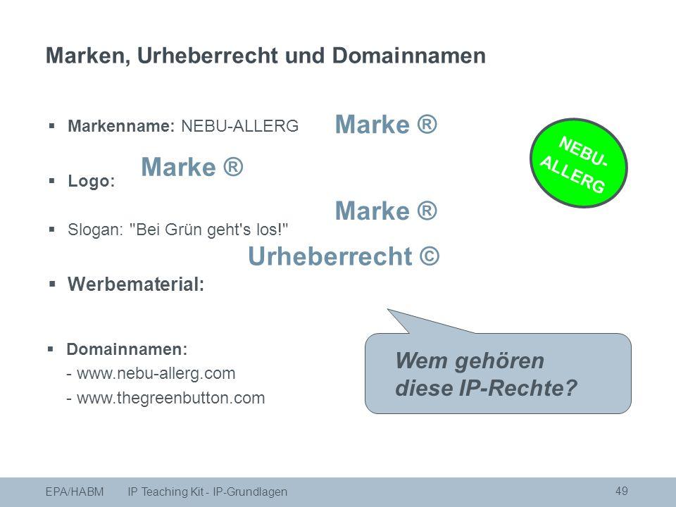 49  Markenname: NEBU-ALLERG  Logo:  Slogan: Bei Grün geht s los!  Werbematerial: NEBU- ALLERG Wem gehören diese IP-Rechte.