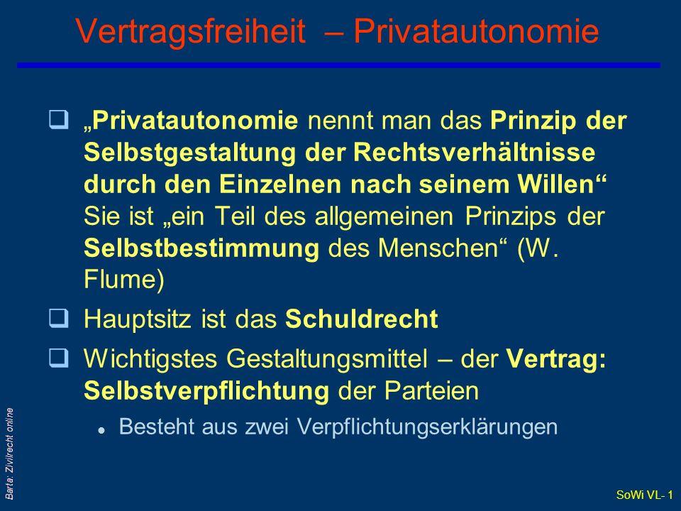 """SoWi VL- 1 Barta: Zivilrecht online Vertragsfreiheit – Privatautonomie q""""Privatautonomie nennt man das Prinzip der Selbstgestaltung der Rechtsverhältn"""