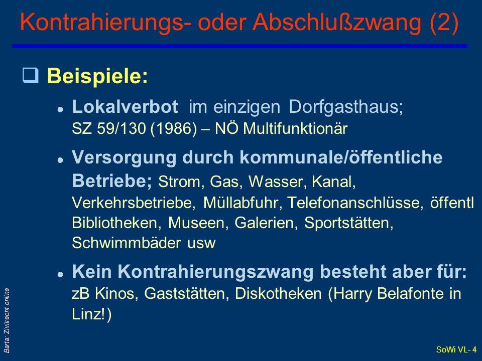 SoWi VL- 4 Barta: Zivilrecht online Kontrahierungs- oder Abschlußzwang (2) qBeispiele: l Lokalverbot im einzigen Dorfgasthaus; SZ 59/130 (1986) – NÖ M