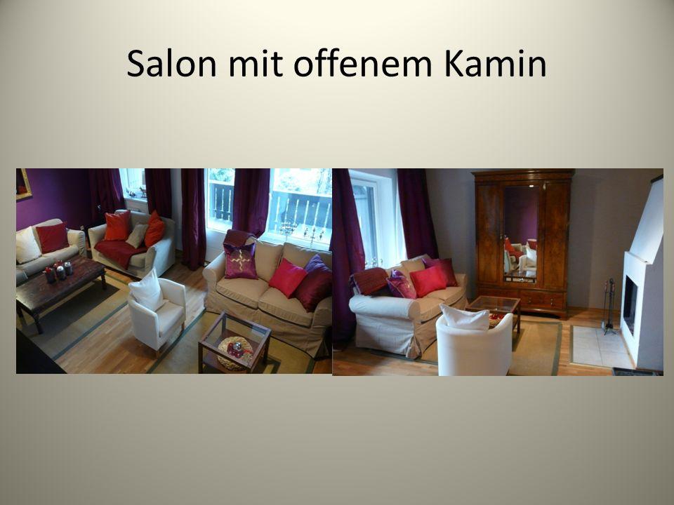 Salon mit offenem Kamin