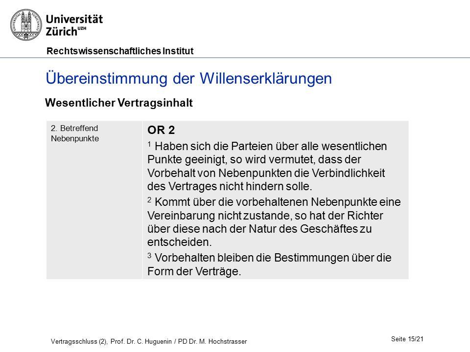 Rechtswissenschaftliches Institut Seite 15/21 Übereinstimmung der Willenserklärungen 2. Betreffend Nebenpunkte OR 2 1 Haben sich die Parteien über all