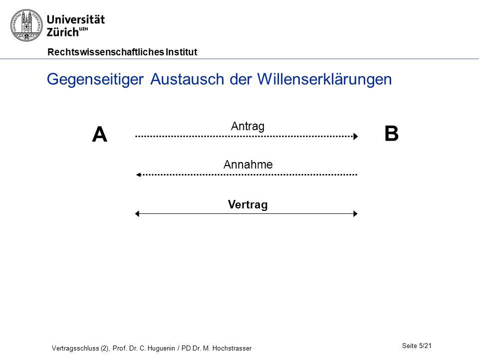 Rechtswissenschaftliches Institut Seite 5/21 Gegenseitiger Austausch der Willenserklärungen A B Antrag Annahme Vertrag Vertragsschluss (2), Prof.