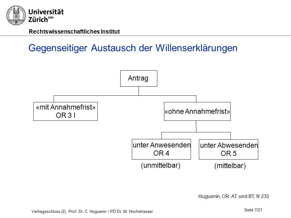 Rechtswissenschaftliches Institut Seite 7/21 Huguenin, OR AT und BT, N 235 Gegenseitiger Austausch der Willenserklärungen Antrag «mit Annahmefrist» OR