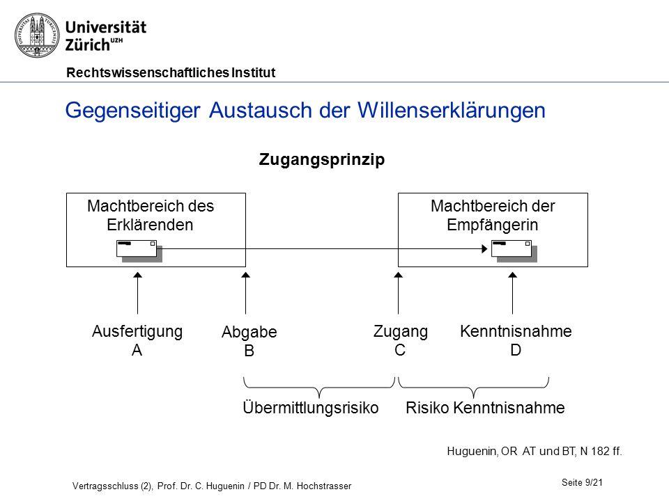Rechtswissenschaftliches Institut Seite 9/21 Huguenin, OR AT und BT, N 182 ff. Zugangsprinzip Gegenseitiger Austausch der Willenserklärungen Ausfertig