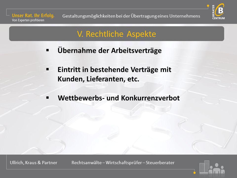 Gestaltungsmöglichkeiten bei der Übertragung eines Unternehmens Ullrich, Kraus & Partner Rechtsanwälte – Wirtschaftsprüfer – Steuerberater  Übernahme der Arbeitsverträge  Eintritt in bestehende Verträge mit Kunden, Lieferanten, etc.