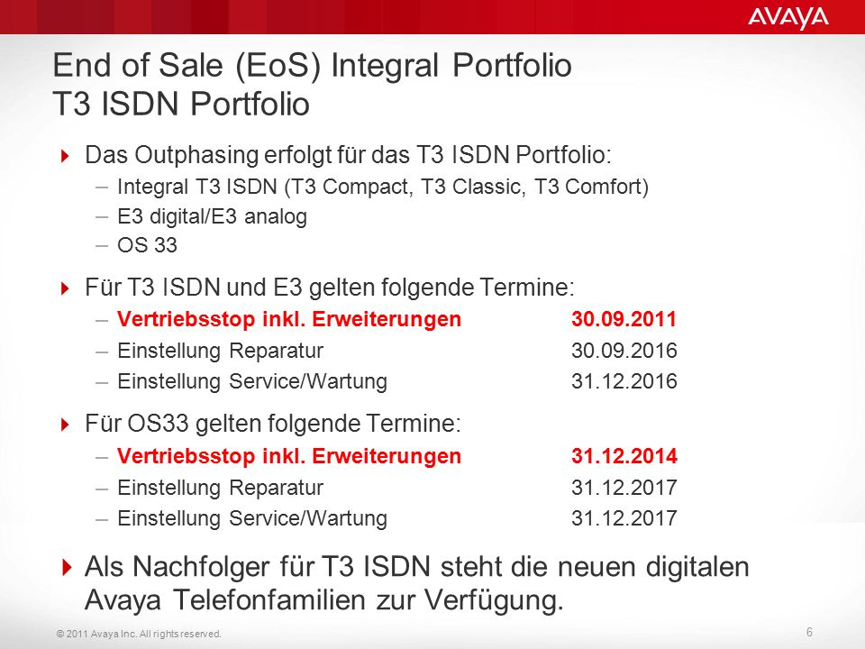 """© 2011 Avaya Inc.All rights reserved. 7 Warum """"End of Sale Integral ."""