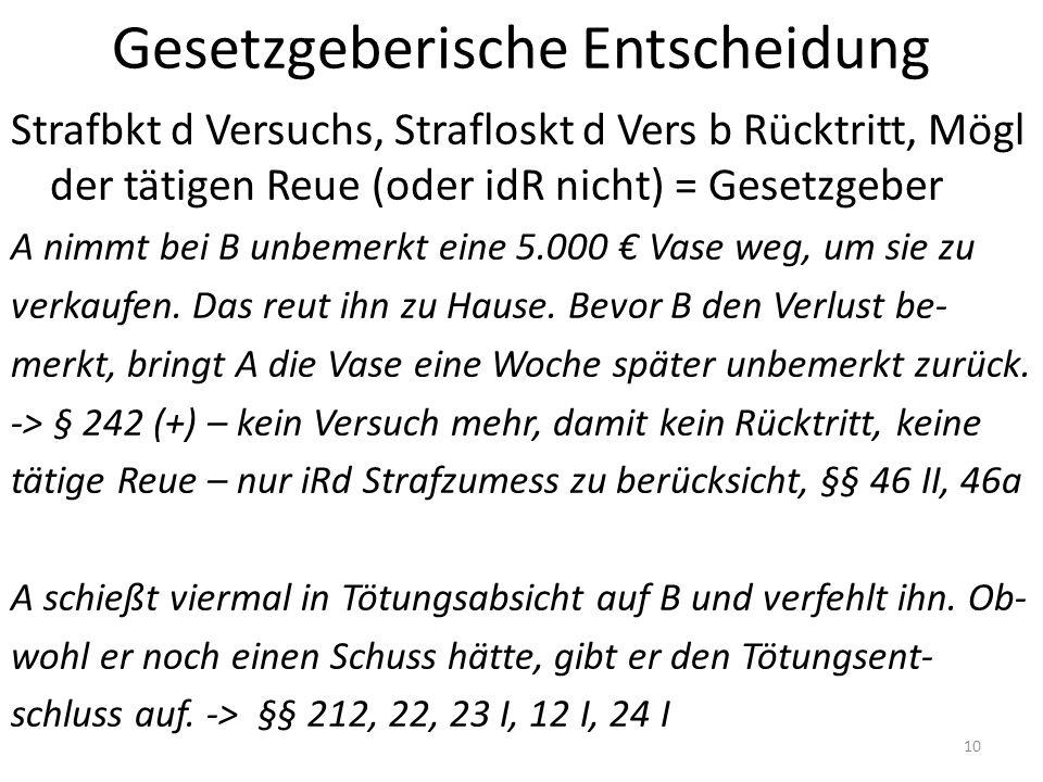 Gesetzgeberische Entscheidung Strafbkt d Versuchs, Strafloskt d Vers b Rücktritt, Mögl der tätigen Reue (oder idR nicht) = Gesetzgeber A nimmt bei B unbemerkt eine 5.000 € Vase weg, um sie zu verkaufen.