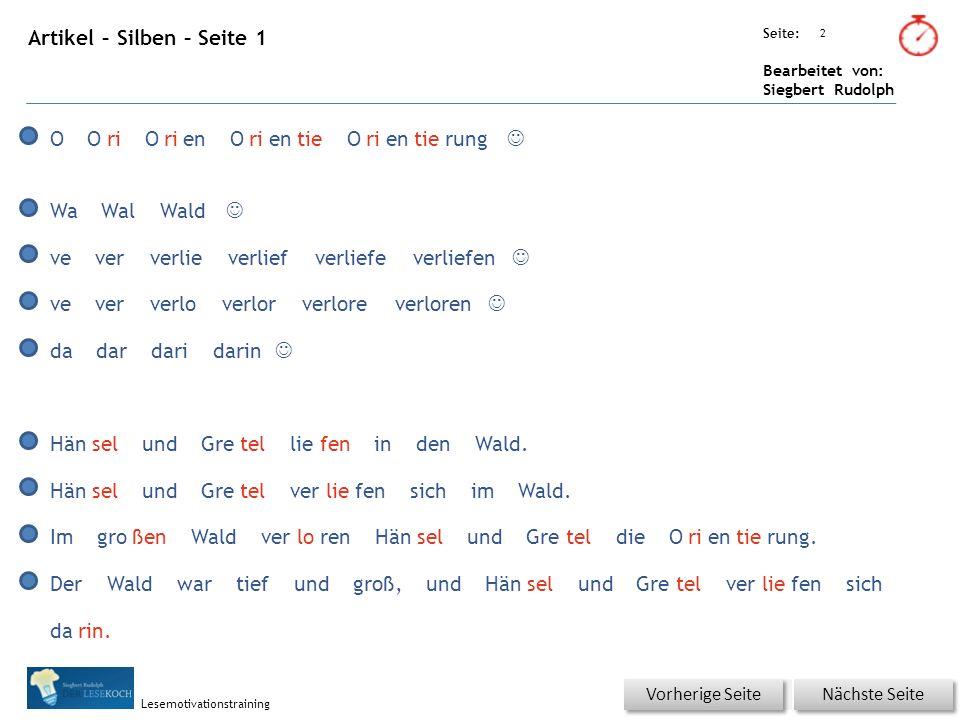 Übungsart: Seite: Bearbeitet von: Siegbert Rudolph Lesemotivationstraining Texte für Sprint 43 Vorherige Seite O Ori Orien Orientie Orientierung.