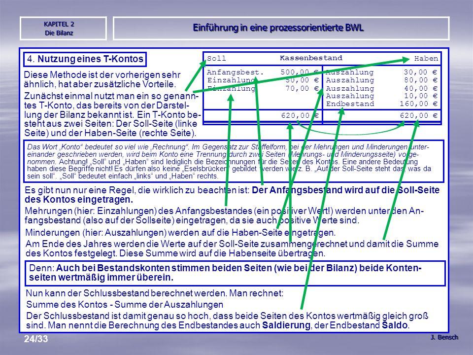 Einführung in eine prozessorientierte BWL J. Bensch KAPITEL 2 Die Bilanz 24/33 4.