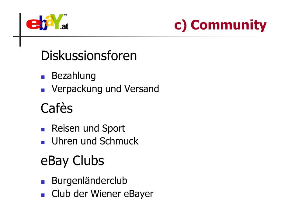 Diskussionsforen Bezahlung Verpackung und Versand Cafès Reisen und Sport Uhren und Schmuck eBay Clubs Burgenländerclub Club der Wiener eBayer c) Commu