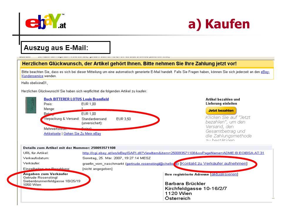 a) Kaufen Auszug aus E-Mail: