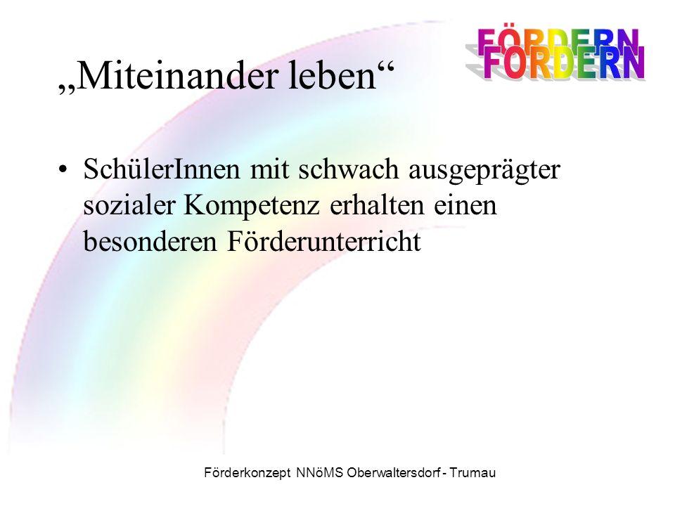 """Förderkonzept NNöMS Oberwaltersdorf - Trumau """"Miteinander leben SchülerInnen mit schwach ausgeprägter sozialer Kompetenz erhalten einen besonderen Förderunterricht"""