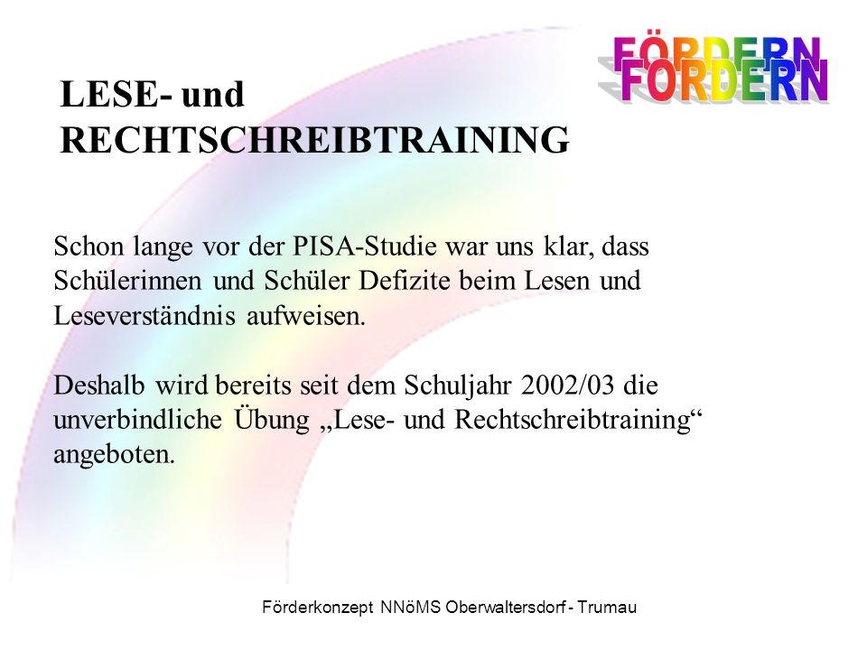 Förderkonzept NNöMS Oberwaltersdorf - Trumau LESE- und RECHTSCHREIBTRAINING Schon lange vor der PISA-Studie war uns klar, dass Schülerinnen und Schüler Defizite beim Lesen und Leseverständnis aufweisen.