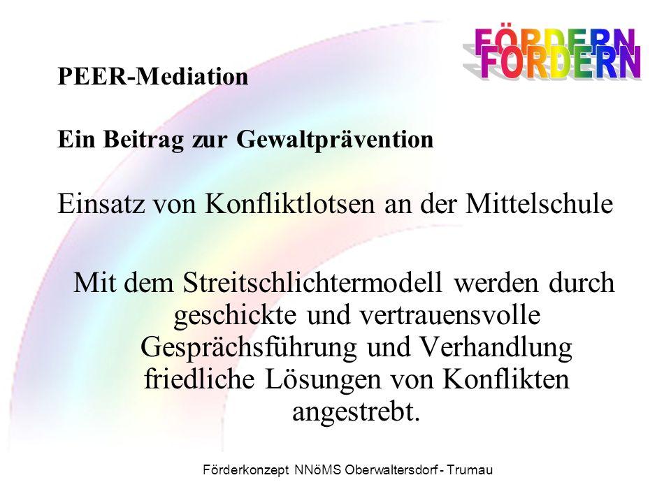 Förderkonzept NNöMS Oberwaltersdorf - Trumau PEER-Mediation Ein Beitrag zur Gewaltprävention Einsatz von Konfliktlotsen an der Mittelschule Mit dem Streitschlichtermodell werden durch geschickte und vertrauensvolle Gesprächsführung und Verhandlung friedliche Lösungen von Konflikten angestrebt.
