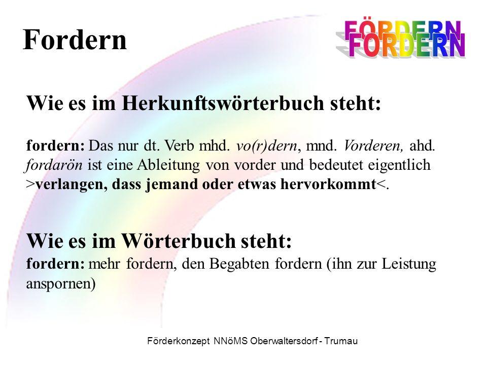Förderkonzept NNöMS Oberwaltersdorf - Trumau Wie es im Herkunftswörterbuch steht: fordern: Das nur dt.