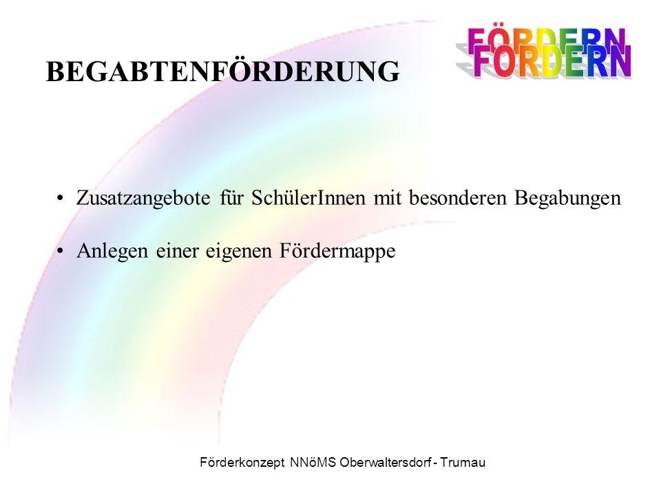 Förderkonzept NNöMS Oberwaltersdorf - Trumau Zusatzangebote für SchülerInnen mit besonderen Begabungen Anlegen einer eigenen Fördermappe BEGABTENFÖRDERUNG