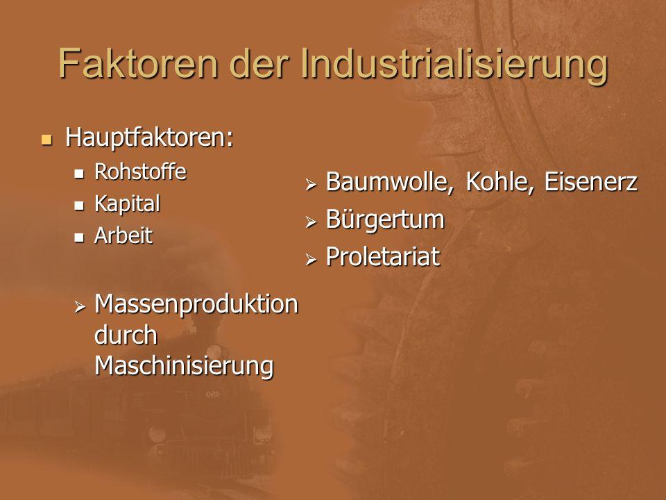 Faktoren der Industrialisierung Hauptfaktoren: Rohstoffe Kapital Arbeit MMMMassenproduktion durch Maschinisierung BBBBaumwolle, Kohle, Eisener