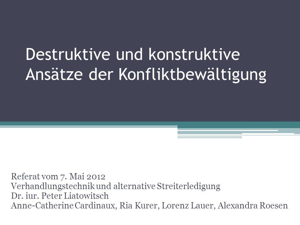 Destruktive und konstruktive Ansätze der Konfliktbewältigung Referat vom 7.