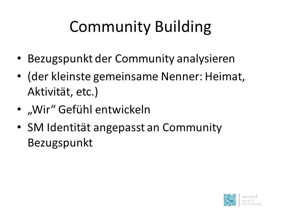 """Community Building Bezugspunkt der Community analysieren (der kleinste gemeinsame Nenner: Heimat, Aktivität, etc.) """"Wir Gefühl entwickeln SM Identität angepasst an Community Bezugspunkt"""