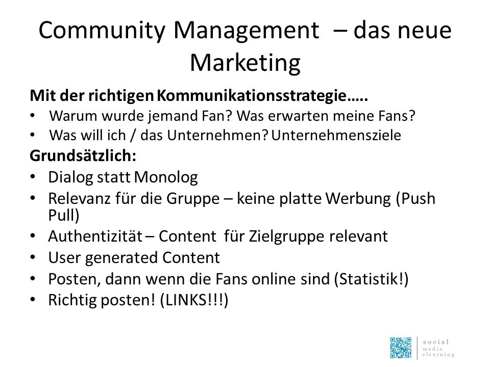 Community Management – das neue Marketing Mit der richtigen Kommunikationsstrategie…..