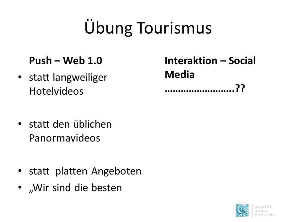 """Übung Tourismus Push – Web 1.0 statt langweiliger Hotelvideos statt den üblichen Panormavideos statt platten Angeboten """"Wir sind die besten Interaktion – Social Media ……………………..??"""