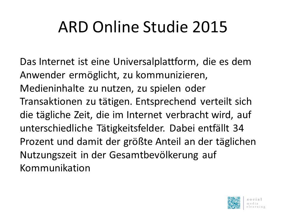 ARD Online Studie 2015 Das Internet ist eine Universalplattform, die es dem Anwender ermöglicht, zu kommunizieren, Medieninhalte zu nutzen, zu spielen oder Transaktionen zu tätigen.