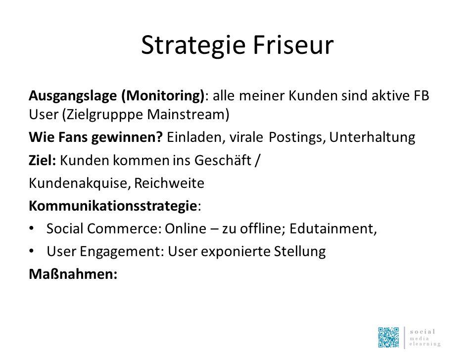 Strategie Friseur Ausgangslage (Monitoring): alle meiner Kunden sind aktive FB User (Zielgrupppe Mainstream) Wie Fans gewinnen? Einladen, virale Posti