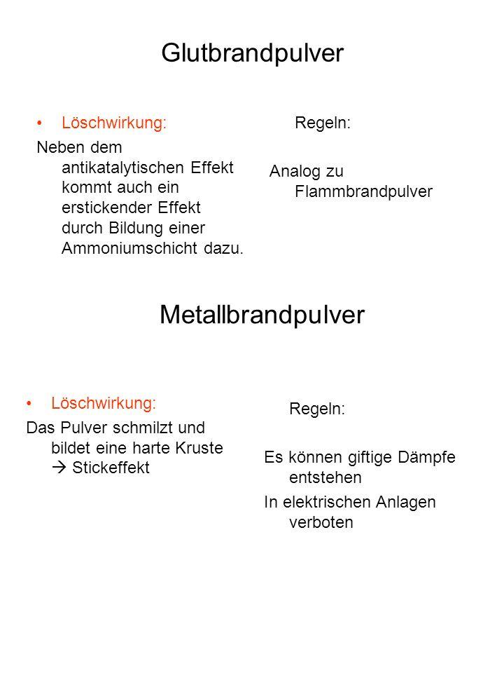 Löschpulver Glutbrandpulver ( ABC - Pulver ) Flammbrandpulver ( BC – Pulver ) Metallbrandpulver ( D – Pulver ) Flammbrandpulver Löschwirkung: Die Pulverwolke wirkt antikatalytisch.