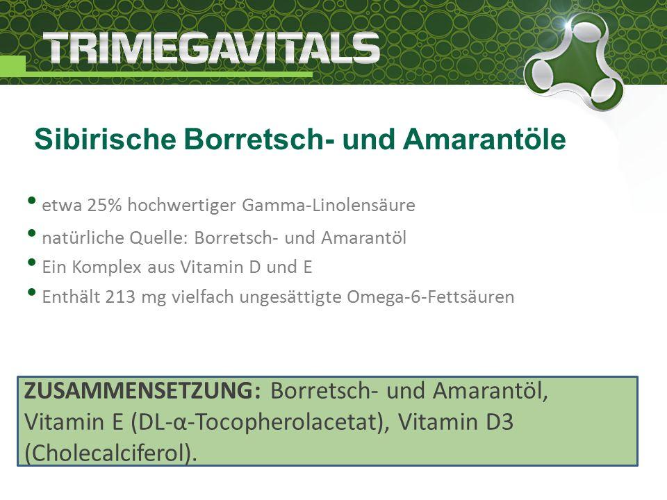 etwa 25% hochwertiger Gamma-Linolensäure natürliche Quelle: Borretsch- und Amarantöl Ein Komplex aus Vitamin D und E Enthält 213 mg vielfach ungesättigte Omega-6-Fettsäuren Sibirische Borretsch- und Amarantöle ZUSAMMENSETZUNG: Borretsch- und Amarantöl, Vitamin E (DL-α-Tocopherolacetat), Vitamin D3 (Cholecalciferol).