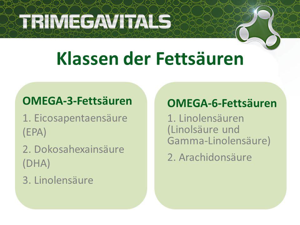 Klassen der Fettsäuren OMEGA-3-Fettsäuren 1. Eicosapentaensäure (EPA) 2.