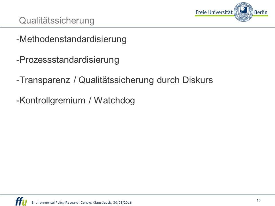 15 Environmental Policy Research Centre, Klaus Jacob, 30/05/2016 Qualitätssicherung  Methodenstandardisierung  Prozessstandardisierung  Transparenz / Qualitätssicherung durch Diskurs  Kontrollgremium / Watchdog
