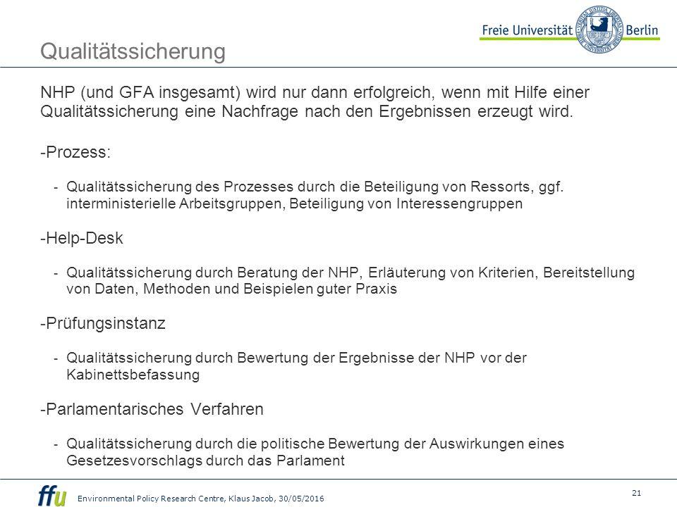 21 Environmental Policy Research Centre, Klaus Jacob, 30/05/2016 Qualitätssicherung NHP (und GFA insgesamt) wird nur dann erfolgreich, wenn mit Hilfe einer Qualitätssicherung eine Nachfrage nach den Ergebnissen erzeugt wird.