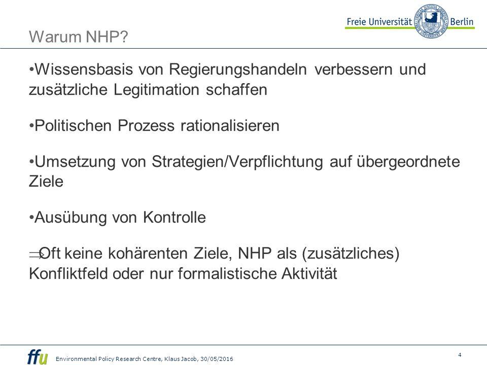 5 Environmental Policy Research Centre, Klaus Jacob, 30/05/2016 NHP in Europa Nahezu alle EU Staaten haben Verfahren der allgemeinen Gesetzesfolgenabschätzung.