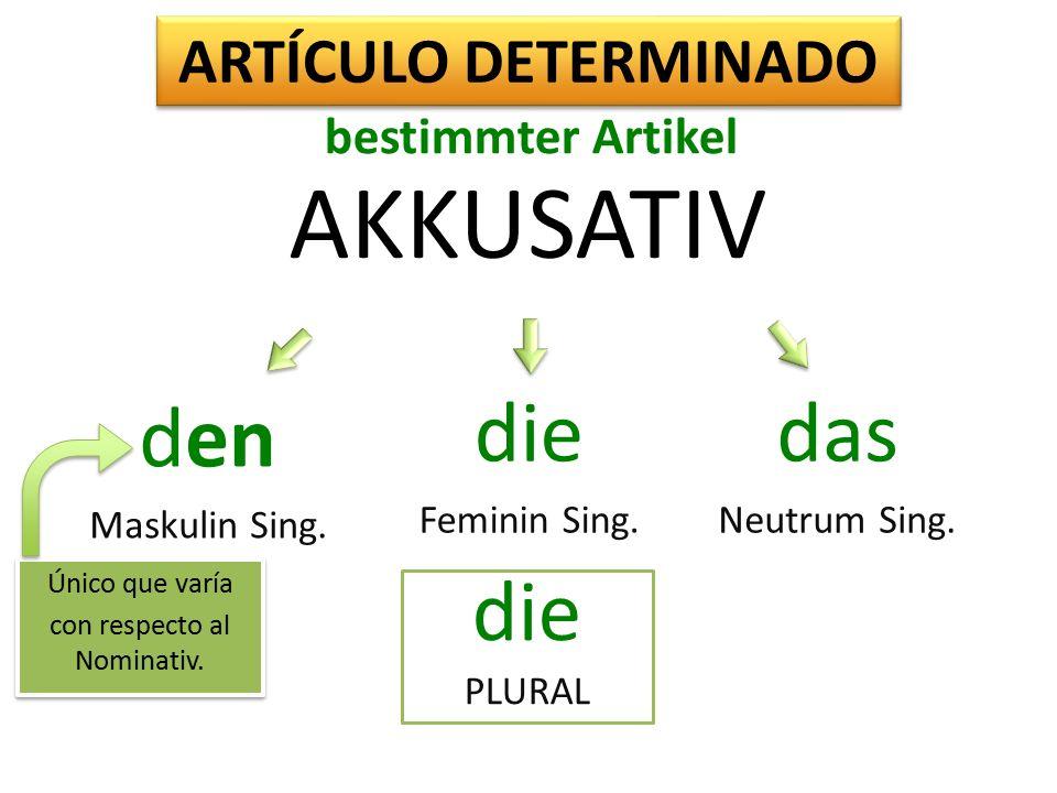 AKKUSATIV den Maskulin Sing. die Feminin Sing. das Neutrum Sing.