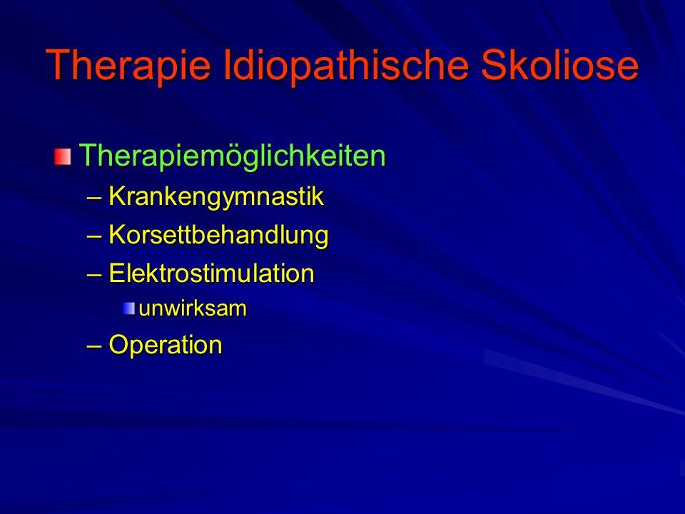 Therapie Idiopathische Skoliose Therapiemöglichkeiten –Krankengymnastik –Korsettbehandlung –Elektrostimulation unwirksam –Operation