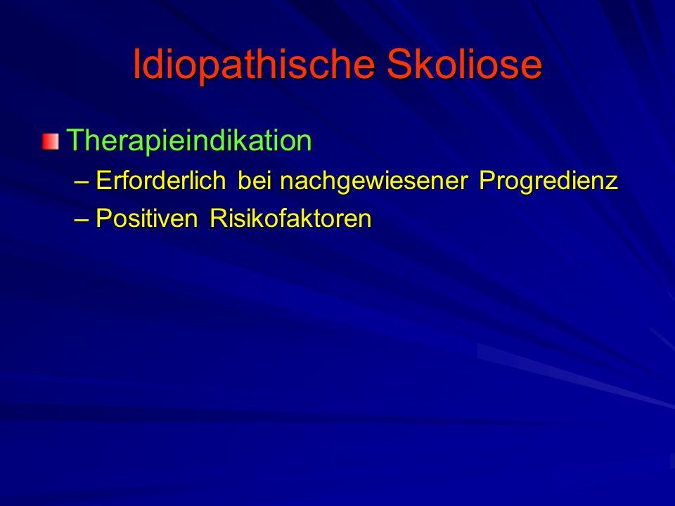 Idiopathische Skoliose Therapieindikation –Erforderlich bei nachgewiesener Progredienz –Positiven Risikofaktoren