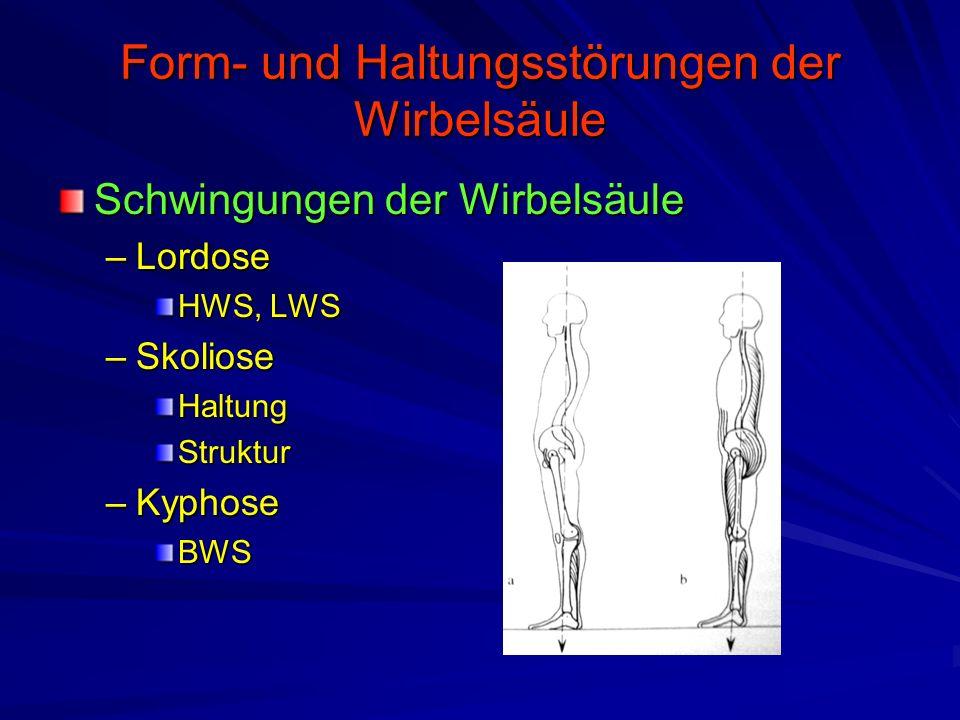 Form- und Haltungsstörungen der Wirbelsäule Schwingungen der Wirbelsäule –Lordose HWS, LWS –Skoliose HaltungStruktur –Kyphose BWS