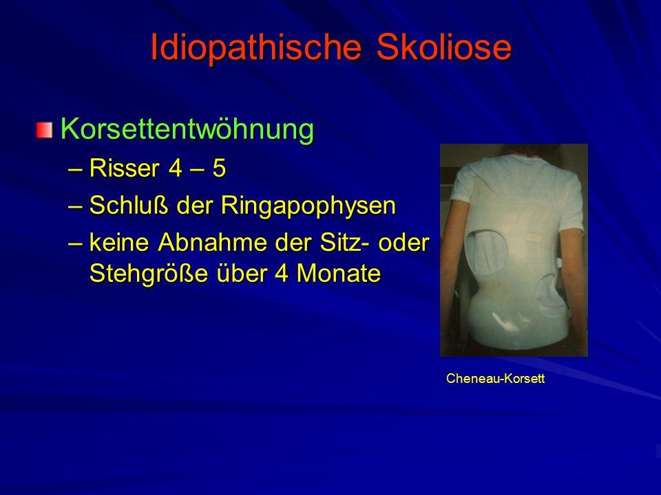 Idiopathische Skoliose Korsettentwöhnung –Risser 4 – 5 –Schluß der Ringapophysen –keine Abnahme der Sitz- oder Stehgröße über 4 Monate Cheneau-Korsett