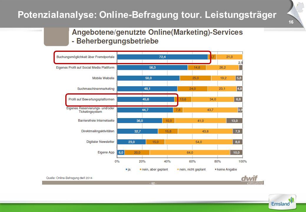 16 Potenzialanalyse: Online-Befragung tour. Leistungsträger