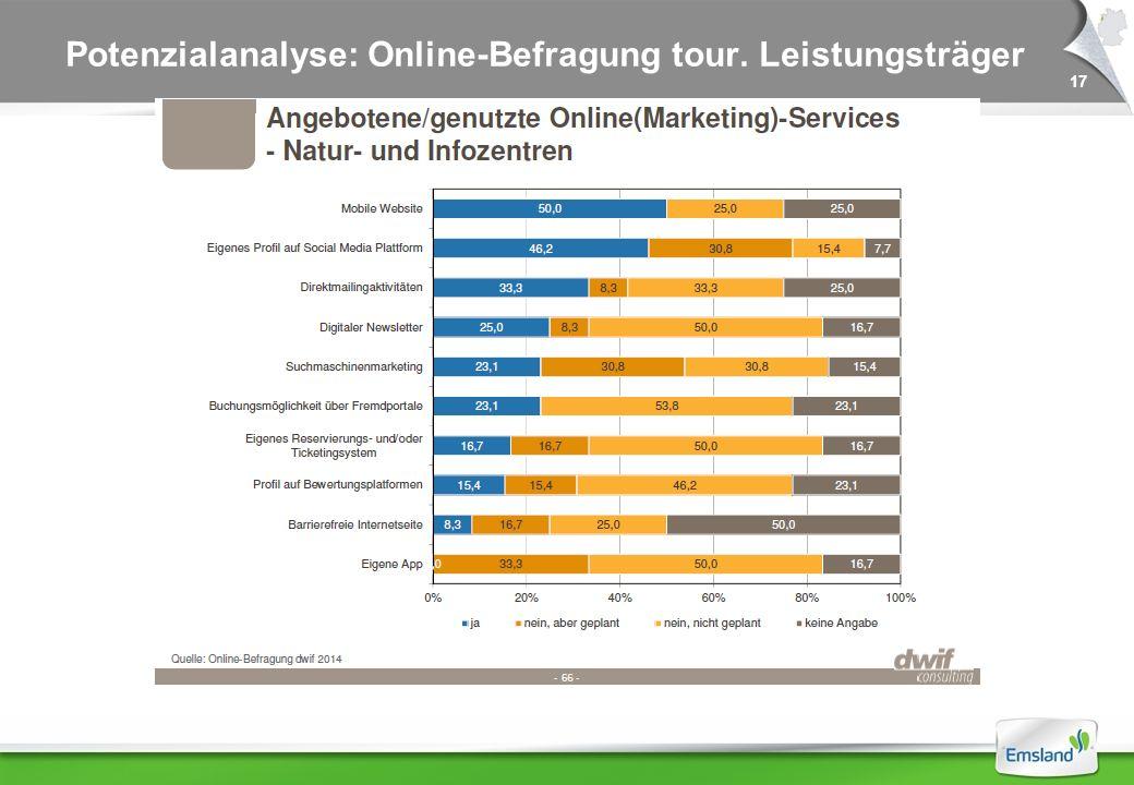 17 Potenzialanalyse: Online-Befragung tour. Leistungsträger