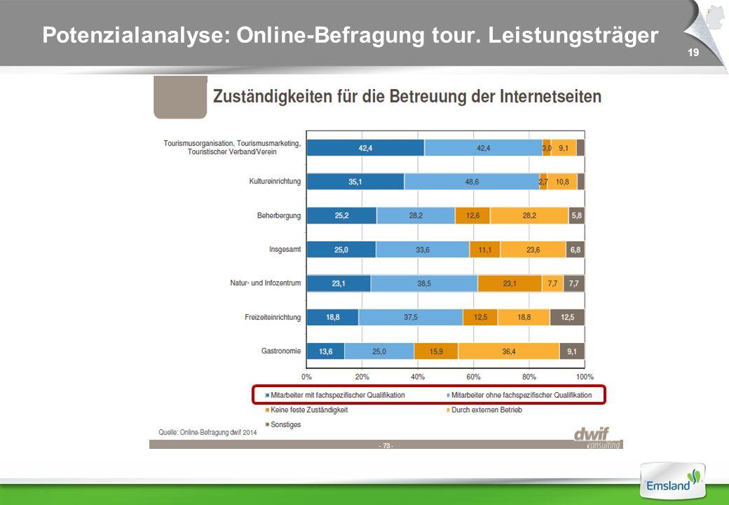 19 Potenzialanalyse: Online-Befragung tour. Leistungsträger