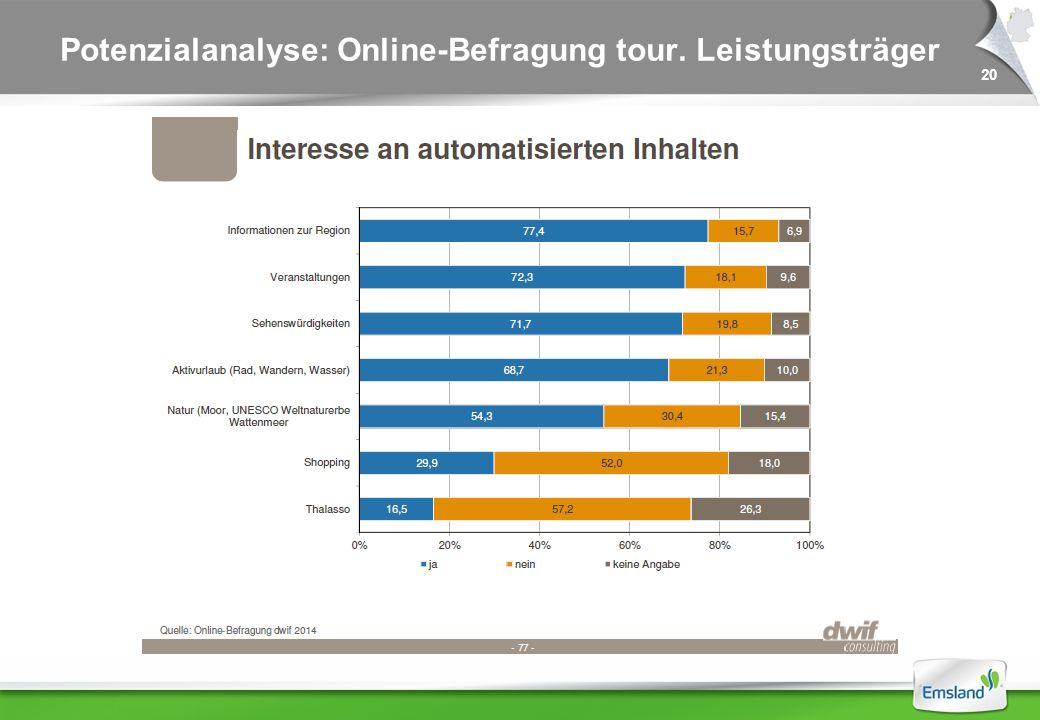 20 Potenzialanalyse: Online-Befragung tour. Leistungsträger