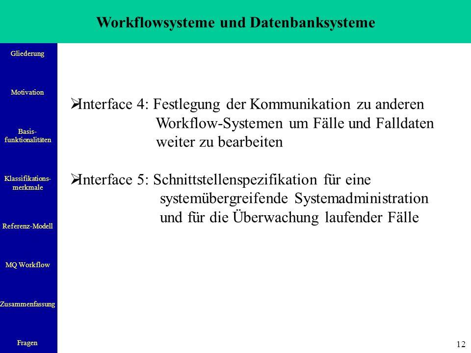 Workflowsysteme und Datenbanksysteme Gliederung Motivation Basis- funktionalitäten Klassifikations- merkmale Referenz-Modell MQ Workflow Zusammenfassung Fragen 12  Interface 4: Festlegung der Kommunikation zu anderen Workflow-Systemen um Fälle und Falldaten weiter zu bearbeiten  Interface 5: Schnittstellenspezifikation für eine systemübergreifende Systemadministration und für die Überwachung laufender Fälle