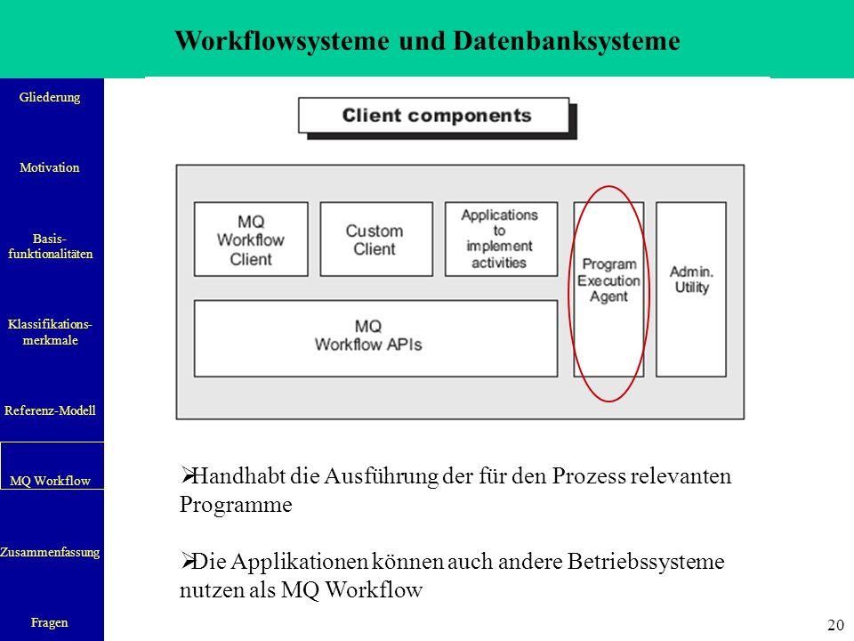 Workflowsysteme und Datenbanksysteme Gliederung Motivation Basis- funktionalitäten Klassifikations- merkmale Referenz-Modell MQ Workflow Zusammenfassung Fragen 20  Handhabt die Ausführung der für den Prozess relevanten Programme  Die Applikationen können auch andere Betriebssysteme nutzen als MQ Workflow
