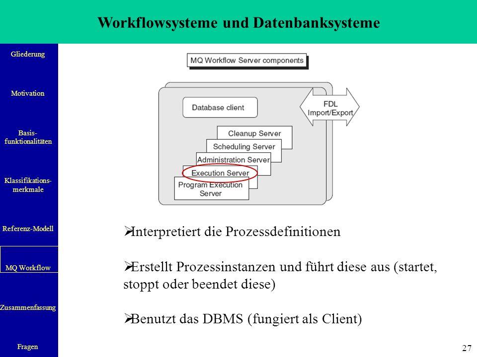Workflowsysteme und Datenbanksysteme Gliederung Motivation Basis- funktionalitäten Klassifikations- merkmale Referenz-Modell MQ Workflow Zusammenfassung Fragen 27  Interpretiert die Prozessdefinitionen  Erstellt Prozessinstanzen und führt diese aus (startet, stoppt oder beendet diese)  Benutzt das DBMS (fungiert als Client)