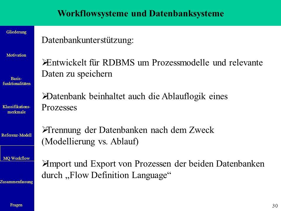 Workflowsysteme und Datenbanksysteme Gliederung Motivation Basis- funktionalitäten Klassifikations- merkmale Referenz-Modell MQ Workflow Zusammenfassung Fragen 31