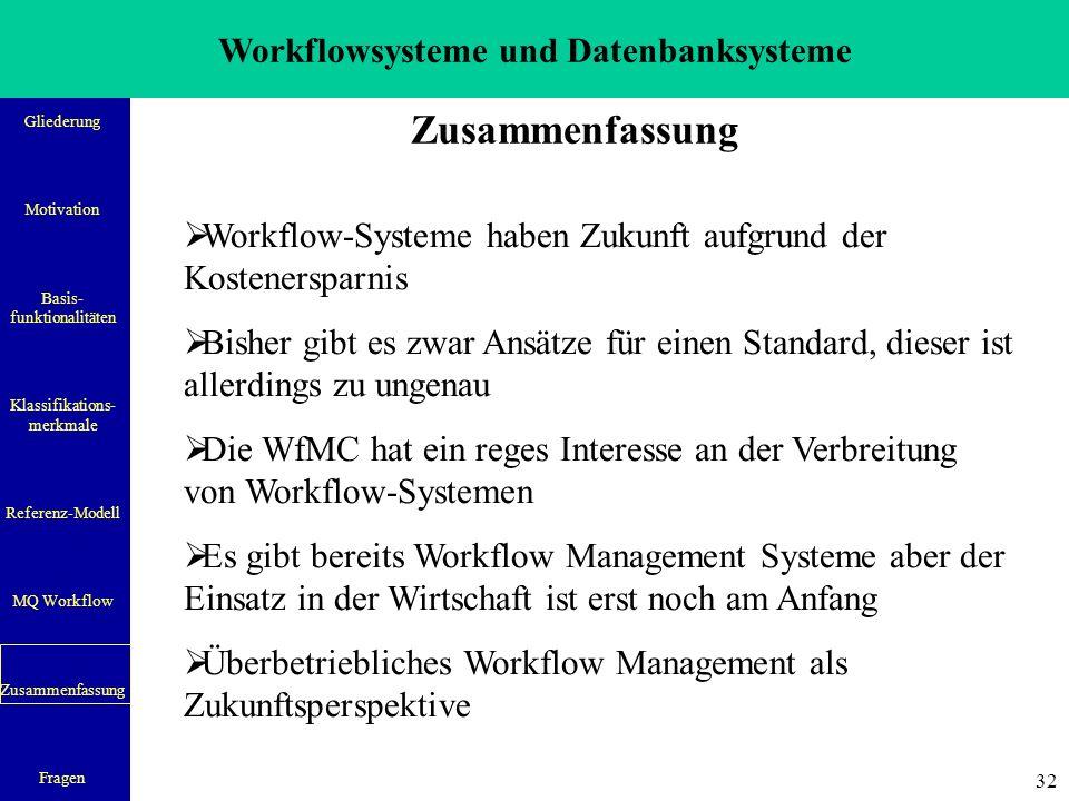 Workflowsysteme und Datenbanksysteme Gliederung Motivation Basis- funktionalitäten Klassifikations- merkmale Referenz-Modell MQ Workflow Zusammenfassung Fragen 33